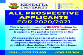 Applications for all KUCCPS Prospective Applicants for 2020/2021